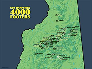 Best Maps Ever New Hampshire 4000 Footers Map 18x24 Poster (Green & Navy)