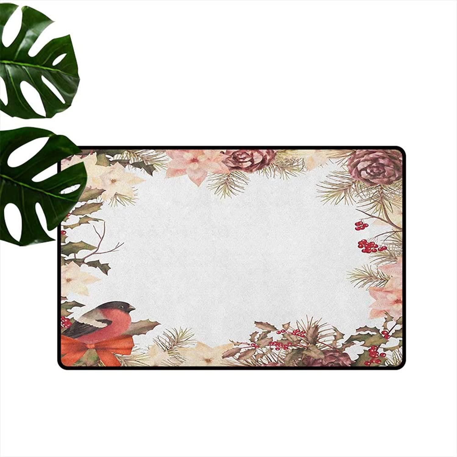 New Year Large Outdoor Indoor Rubber Doormat Eurasian Bullfinch Motif with Cedar Branch Holly Berries Vintage Mildew Proof W29 x L39 Dried pink Coral Pale Peach