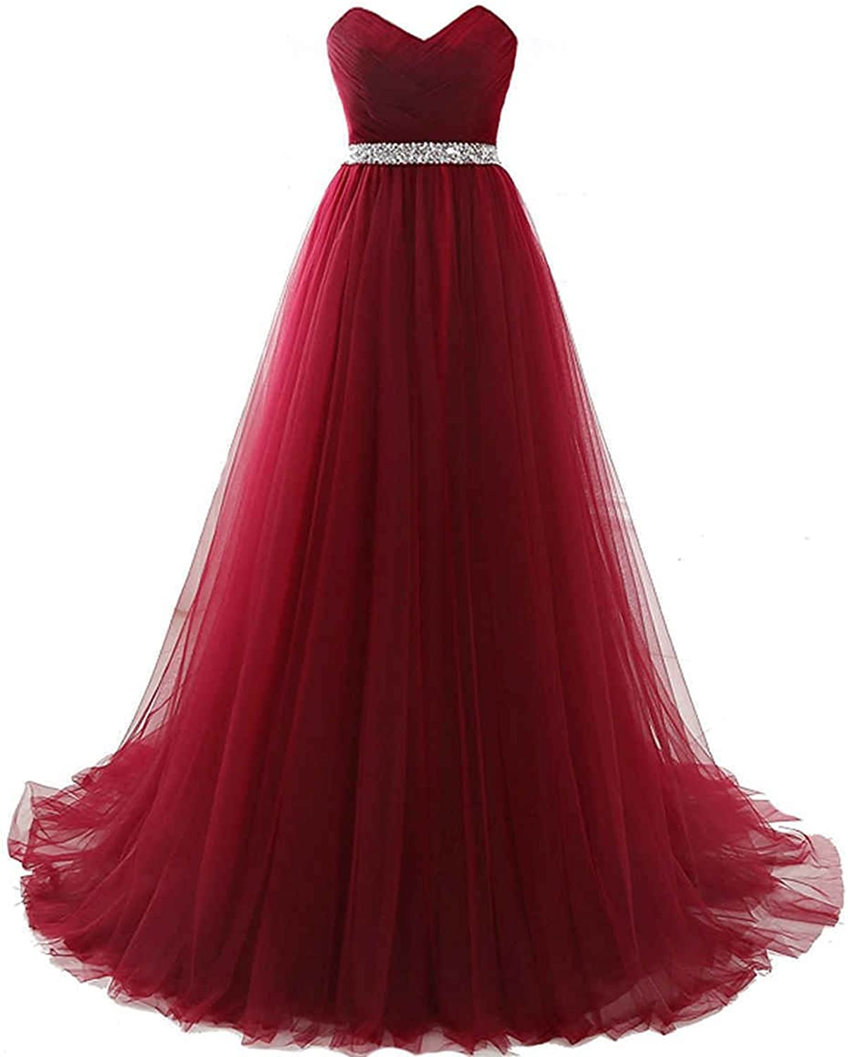 JQLD Womens Sweetheart Prom Dresses Beaded Long Pleated A Line Bridesmaid Gowns