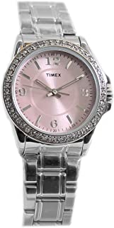 Timex Women's Swarovski Crystal Dress Fashion Quartz Watch Silver Band Pink Face