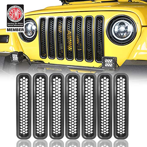 Hooke Road Wrangler Grill Mesh Inserts Front Grille Guard Cover Clip-in Matte Black for 1997-2006 Jeep Wrangler TJ & Unlimited (Pack of 7)