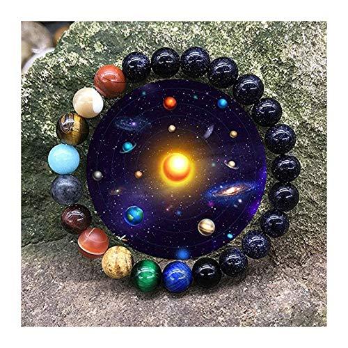 OYZK Amantes Ocho Planetas Pulsera de Piedra Natural Universo Yoga Chakra Galaxy Sistema Solar Barlas Pulseras para Hombres Mujeres Joyería (Metal Color : Negro)