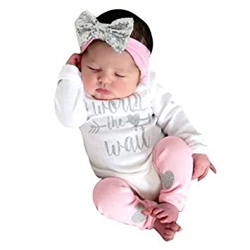 Newborn Baby Girls Clothes Letter Romper Jumpsuit+Pants+Hairband 3Pcs Outfit Set