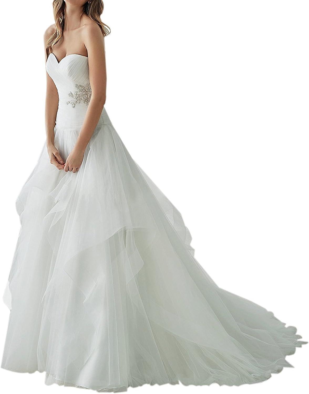 Weiterstar Women's Modern Sweetheart Applique Lace Pleats TulleLaceup Wedding Dress