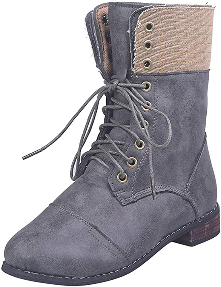 Women's Motorcycle Zipper Mid Calf Western Style Martin Cowboy Knight Boots