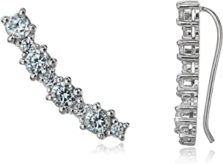 Sterling Silver Round Cubic Zirconia Curved Crawler Climber Hook Earrings