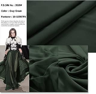 F.d.silk Gray Green 100% Pure Silk Chiffon Fabric By the Yard, 48 Colors, Gray Green Ch-039