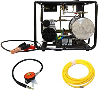 HPDAVV DC 12V Air Compressor for Hookah Dive Compressor with 50ft Hose & Respirator,Gas Tank,Two Air Outlets,US After-Sales Service,Operational Video (A:Black)