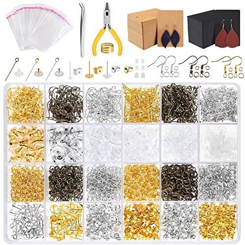 CHRORINE 2940 Pcs Kit de fabricación de aretes Anillos de salto Poste de aretes Tarjetas de aretes para hacer y reparar aretes