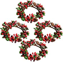 KESYOO 4pcs Mini Berry Wreath Artificial Red Berries Candle Ring Pine Cone Wreath for Votives Candle Holders Christmas Orn...