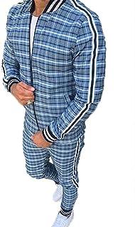Mens Full Zipper Tracksuits Set Plaid Jogging Bottoms Gym Sports Suit Sets