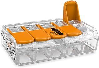 25-delad Wago-anslutningsblock med 5 ledare och aktiveringsspaken 0,2-4 mm², liten transparent design, 221-415, orange