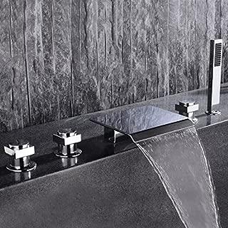 Lovedima Modern 5 Pieces Waterfall Bathroom Bathtub Faucet Roman Tub Filler with Handheld Shower
