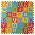 DIMPLE Kids Foam Play Mat (36-Piece Set) 6.25 x 6.25 Inches Interlocking Alphabet and Numbers Floor Puzzle Colorful EVA Tiles Girls, Boys Soft, Reusable, Easy to Clean