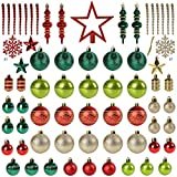 Christmas Tree Decoration, 78pcs Christmas Tree Decoration Set Box Red Green and Gold Christmas Ball Shatterproof Hanging Tree Assorted Ornament Set with Snowflakes