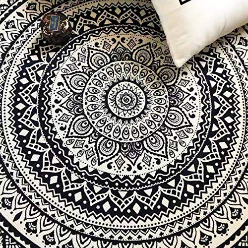 Concus-T Round Cotton Area Rugs 120cm Machine Washable Hand Woven Tassels Carpet Chic Bohemian Pattern Floor Mats for Bedroom Living Room Sofa Coffee Table Swing Chair Bed Side, Elegant Black