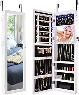 Sunix Wall/Door Mirrored Jewelry Cabinet Lockable Jewelry Armoire Organizer Mirror Storage White