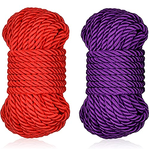 32 Feet Braided Twisted Silk Ropes 8mm Diameter Soft Solid Braided Twisted Ropes Decorative Twisted Satin Shiny Cord Rope for Most Purpose and DIY Craft (Purple, Red,2 Pieces)