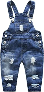 Kidscool Baby & Little Boys/Girls Stone Washed Ripped Soft Denim Overalls