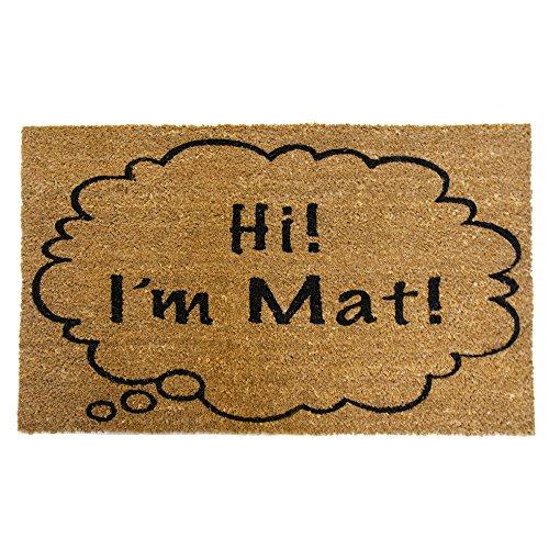 Rubber-Cal 'Hi I'm Mat Coir Doormat Funny Doormats, 18 x...