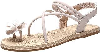 Women Open Toe Slipper Sandals, Ladies Solid Fashion Flower Flats Shoes Summer Sandals