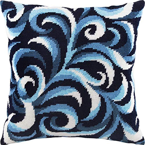 Swirls. Needlepoint Kit. Throw Pillow 16×16 Inches. Printed Tapestry Canvas, European Quality