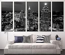Extra Large Art - Atlanta Night Canvas Art Print, Large Wall Art Black White Atlanta City Art, Extra Large Skyline Atlanta Wall Art Print - 60x32 Inch Total
