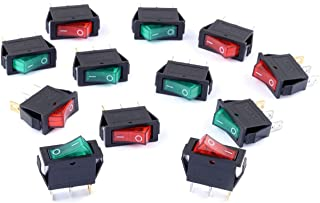 Cylewet 12Pcs AC 15A/250V 20A/125V Boat Rocker Switch 3 Pins 2 Positions ON/Off with Red/Green Indicator Light (Pack of 12...