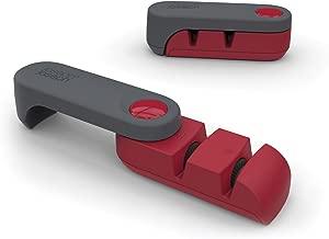 Joseph Joseph Compact 2-Stage Knife Sharpener and Honer Rota, Red