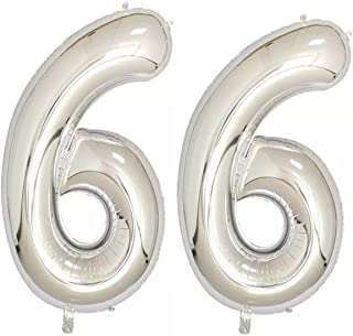 40inch Silver Foil 66 Helium Jumbo Digital Number Balloons, 66th Birthday Decoration for Women or Men, 66 Birthday Party Supplies