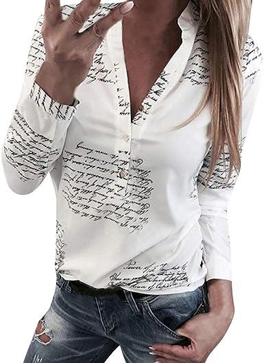 Camiseta para Mujer, Camisa de Manga Larga con Botones y Cuello en V Top Letter Print ImpresióN T Shirt Casual BotónPrimavera Blusa Oficina Moda ...