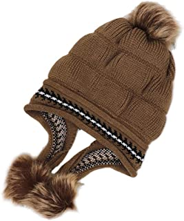 Hat Fashion Thicken Hairball Women Winter Knitting Wool Warm Hat Daily Slouchy Hat Fashion Accessories (Color : Brown)