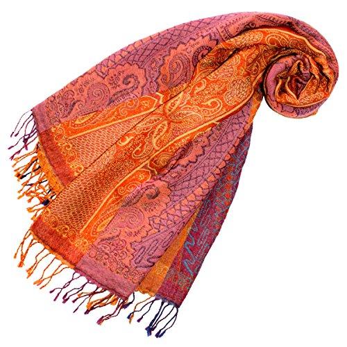 Lorenzo Cana - Damen Pashmina Schal Schaltuch aus weicher Wolle Paisley Muster bunt mehrfarbig 70 cm x 190 cm Wollschal Wolltuch Stola Umschlagtuch 78196