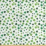 Lunarable Shamrock Fabric by The Yard, St Patrick's Day Clovers Design Motifs from Celtic Folklore Spring, Decorative Fabric for Upholstery and Home Accents, 1 Yard, Dark Green