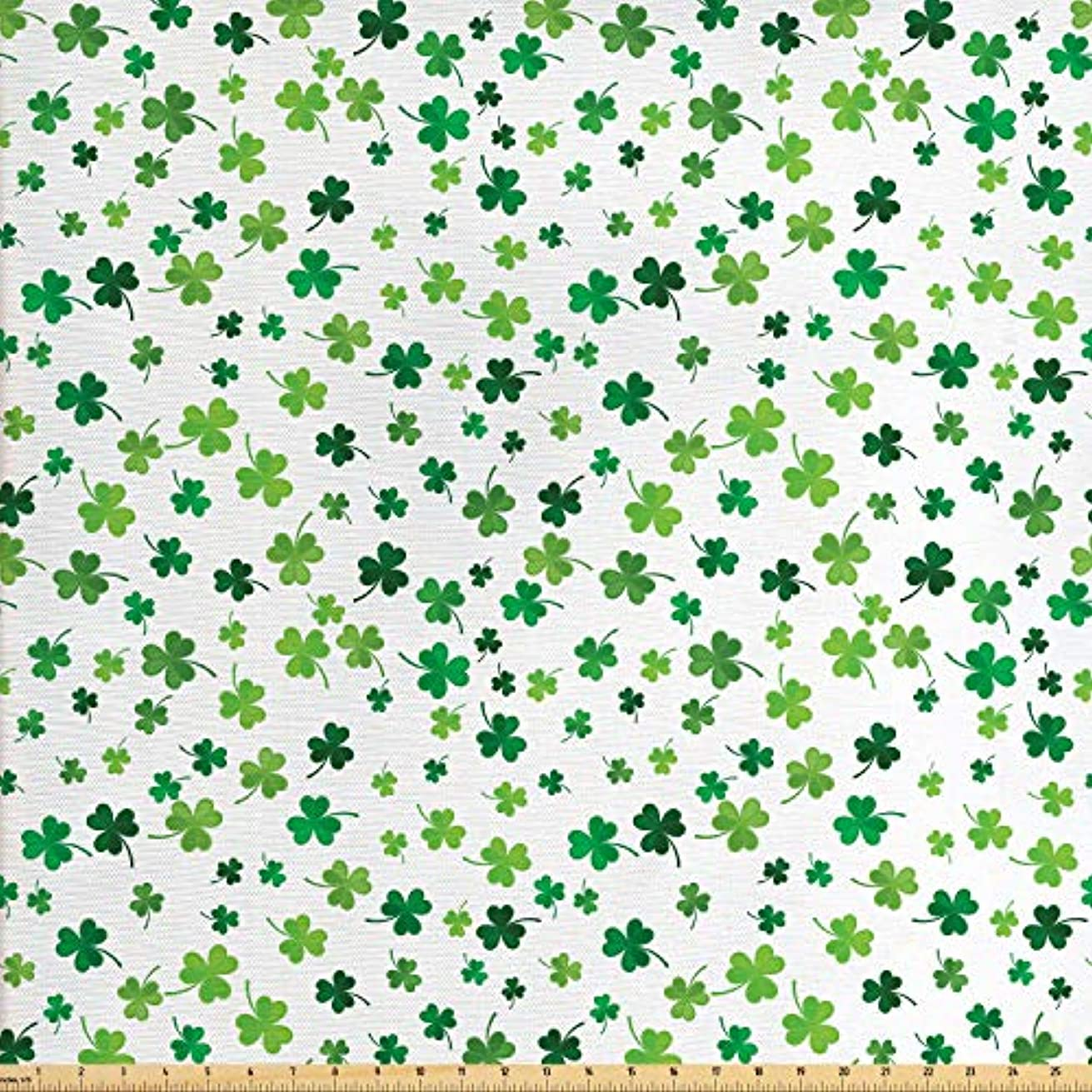 Lunarable Shamrock Fabric by The Yard, St Patrick's Day Clovers Design Motifs from Celtic Folklore Spring, Decorative Fabric for Upholstery and Home Accents, 3 Yards, Green Dark Green Sea Green
