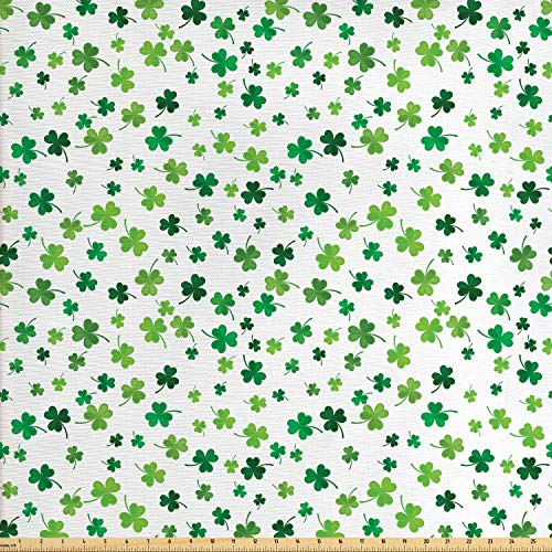 Lunarable Shamrock Fabric by The Yard, St Patrick's Day Clovers Design Motifs from Celtic Folklore Spring, Decorative Fabric for Upholstery and Home Accents, 2 Yards, Dark Green