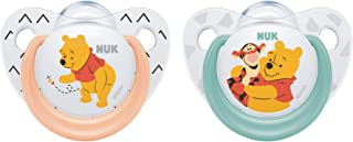 NUK Disney Winnie The Pooh Silicone Soother, Orthodontic Shape, Size 2 (6-18m) - 2 Pack Girl