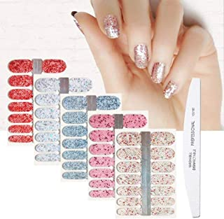 BornBeauty 5pcs Glitter Nail Wraps Polish Decal Strips With 1Pcs Nail File Adhesive Shine Nail Art Stickers Manicure Kits For Women Girls