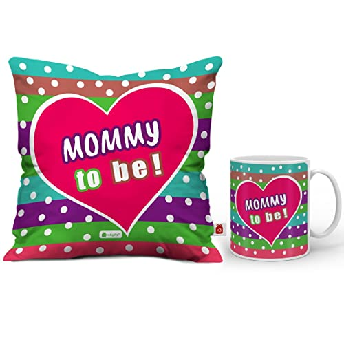 Indigifts Mommy To Be Colorful Coffee Mug And Cushion Cover 12x12 With Filler