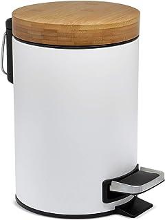 3l Cubo cosmético de diseño | Tapa de Madera de bambú con Sistema de Descenso automático | Cubo de Pedal con antihuellas Dactilares y Pedales de Confort | Blanco