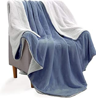 KAWAHOME Sherpa Fleece Blanket Super Soft Extra Warm Thick Winter Christmas Blanket for Couch Sofa Bed King Size 108 X 90 Inches Washed Blue