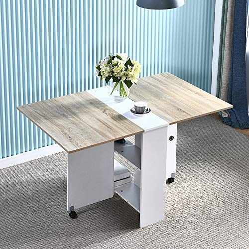 Folding Dining Table,4HOMART YVONNE&F.L.A.M. Drop Leaf Dining Kitchen Table Folding Desk with 2 Wheels & 2 Storage Shelves Wooden Mobile Drop Leaf Kitchen Console Table Extendable Desk for Small Space