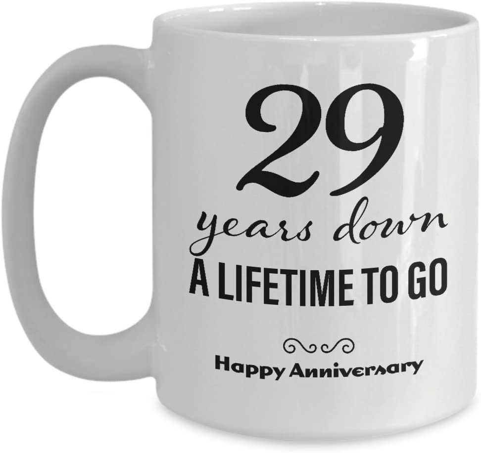 Amazon Com 29th Wedding Anniversary Mug For Her Wedding Anniversary Present For Her 29 Years Down Coffee Mug Unique Cute For Girlfriend Wife Women Friend Marriage Cup Kitchen Dining