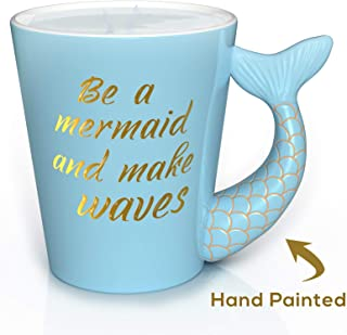 Mermaid Mug - Unique Hand Painted Novelty 3D Blue Teal Mermaid Tail Ceramic Coffee Mugs Gifts. Beautiful gold painted handle with