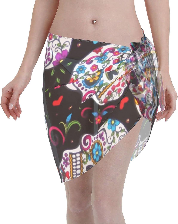 Womens Beach Wrap Sugar Skull Flowers Beach Sarongs Print Swimsuit Cover Ups Bikini Sheer Scarf Bikini Wrap Skirt Bathing Suit Coverup Black