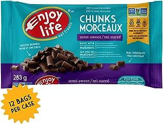 Enjoy Life Baking Chocolate, Soy free, Nut free, Gluten free, Dairy free, Non GMO, Vegan, Paleo, Semi Sweet Mega Chunks, 10 Ounce Bags, 12 Count