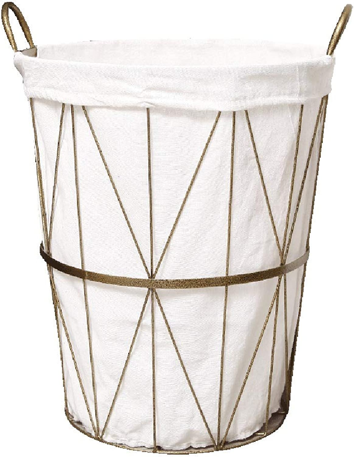 ZHANGQIANG Storage Basket Laundry Basket Iron Hamper Extra Large Nordic Style Metal Storage Basket with Wheels Bathroom Storage Barrel Industrial Wind (color   White, Size   42  60cm)