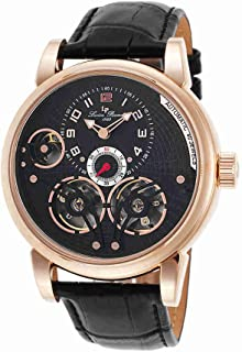 Men's 'Cosmos' Automatic Stainless Steel and Black Leather Casual Watch (Model: LP-15071-RG-01)