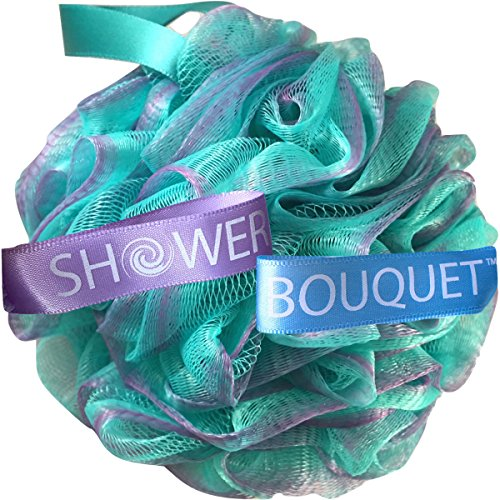 Loofah Bath-Sponge Swirl-Set-XL-75g by Shower Bouquet: Extra-Large Mesh Pouf (4 Pack Color Swirls) Luffa Loofa Loufa Puff Scrubber - Big Full Lather Cleanse, Exfoliate with Beauty Bathing Accessories