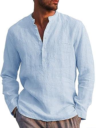 Hombres Casual Camisa Suelto Lino Cuello en V Henley Camisas ...